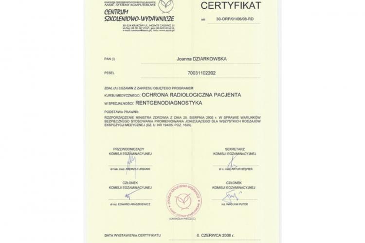Lek. stomatolog Joanna Dziarkowska - dyplomy i certyfikaty