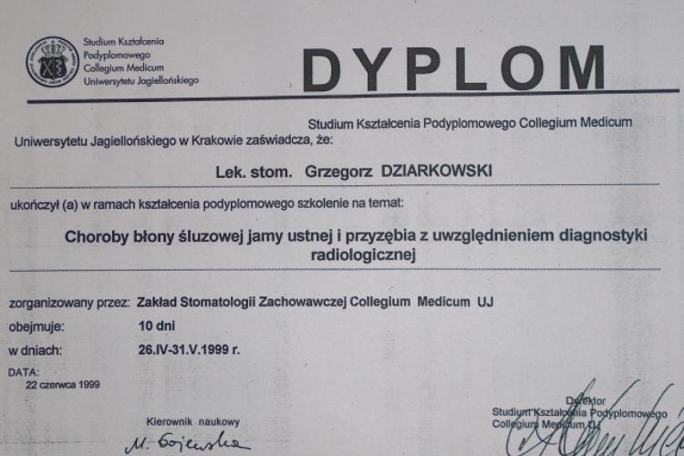 Lek. stomatolog Grzegorz Dziarkowski - dyplomy i certyfikaty