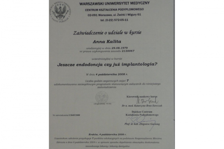Lek. stomatolog Anna Kalita - dyplomy i certyfikaty